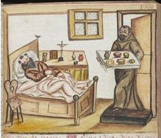 A monk lies ill in bed (from a medical compendium made for a German Franciscan house, c.1675) #earlymodern #histmed