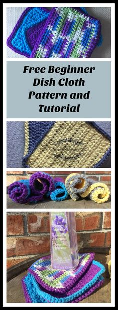 Free crochet pattern and tutorial for beginner level dish cloth. These make great gifts!