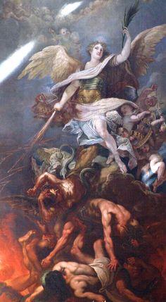 Saint Michel slaying the Devil Angels Among Us, Angels And Demons, St Michael Tattoo, Crying Angel, Angel Protector, Saint Gabriel, St Raphael, Kunst Online, Angel Warrior