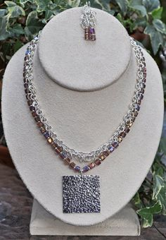 Jewelry - Necklace - Silver and Violet Necklace and Earring Set by JewelryArtByGail - SOLD