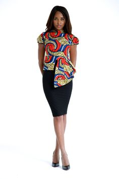 African Print High Low Top by on Etsy African Dresses For Women, African Attire, African Women, Ghanaian Fashion, African Fashion, Nigerian Fashion, Ankara Fashion, African Print Peplum Top, African Prints