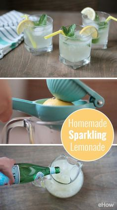 Homemade sparkling lemonade is exactly what you should be sippin' all summer long! This delightfully fizzy version lightens things up with the addition of sparkling water. Sweet, tangy and effervescent, you could also incorporate other flavors such as muddled strawberries or raspberries for a refreshing twist. www.ehow.com/...