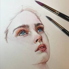 Painting watercolor face artists 42 ideas for 2019 Watercolor Face, Watercolor Artwork, Watercolor Portraits, Tattoo Watercolor, Artwork Paintings, Painting Tattoo, Painting Abstract, Flower Watercolor, Artwork Ideas