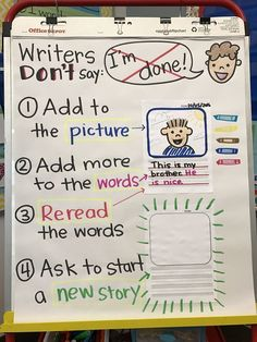 """ They add pictures, words, reread, or start a new story! Writer's Workshop anchor chart ""When you think you're done, you've just begun"". Kindergarten Anchor Charts, Writing Anchor Charts, Kindergarten Writing, Teaching Writing, Writing Activities, Kindergarten Writers Workshop, Lucy Calkins Kindergarten, Anchor Charts First Grade, Lucy Calkins First Grade"