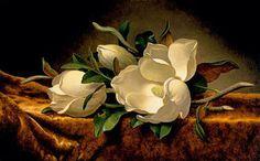 Magnolias on Gold Velvet Cloth Prints by Martin Johnson Heade at ArtPrints.com