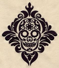 Damask Calavera | Urban Threads: Unique and Awesome Embroidery Designs