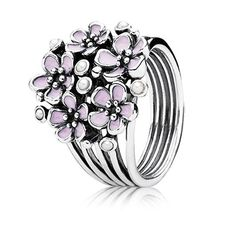 Stunning statement ring - cherry blossom bouquet ring in sterling silver with pink enamel. $75 #PANDORA #PANDORAring #SS13