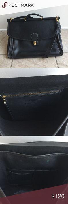 Vintage Coach leather portfolio bag Coach portfolio bag with two slot pockets black leather Coach Bags Laptop Bags