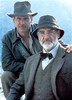 """Dr Henry """"Indiana"""" Jones Jnr and Professor Henry Jones Snr. ( Harrison Ford and Sean Connery) Sean Connery, Harrison Ford, Indiana Jones, James Bond, Henry Jones, Kitchen Canvas, Bald Man, Scottish Actors, Yesterday And Today"""