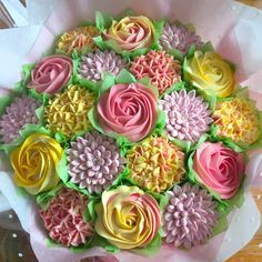 Beautiful Cupcake bouquets and Celebration cakes. Cupcake Bouquets, Yellow Bouquets, Beautiful Cupcakes, Vanilla Cupcakes, Freshly Baked, Cake Creations, Celebration Cakes, Cupcake Cakes, Bakery