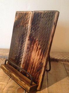 Wood Tablet Holder Recipe Book Stand IPad by SpudsCreativeAsylum