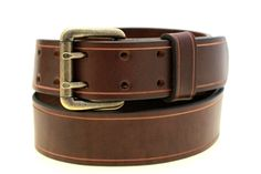 Sunset Color Fast Brown Leather belt Made in America dress, work or casual double hole leather belt