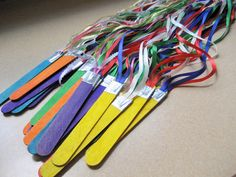 Nursery Singing props--popsicle stick ribbon wands - I like to look for Rainbows Primary Songs, Primary Singing Time, Primary Lessons, Lds Primary, Youth Songs, Ribbon Sticks, Ribbon Wands, Diy Ribbon, Ribbon Crafts