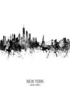 Trademark Global Michael Tompsett New York Skyline Portrait II Canvas Art - 27 Skyline Tattoo, Skyline Art, Skyline Painting, New York Cityscape, Cityscape Art, Gloucester, Aberdeen, Artist Canvas, Canvas Art