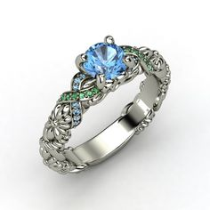 Custom ring - Disney blue topaz, emerald, blue topaz, palladium - $1,021