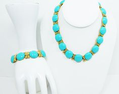 Turquoise Blue Lucite Necklace & Bracelet Demi Set - Signed Crown Trifari - Gold Tone Bow Links, Round Lucite Cabs - Vintage 1960s 1970s MOD