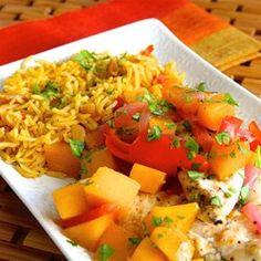 Macadamia-Crusted Sea Bass with Mango Cream Sauce Recipe - Allrecipes.com