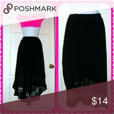 Black HiLo Sheer Skirt Beautiful black sheer skirt. Fully lined.  Lace detail around bottom near hem. Zip side & clasp. Zipper doesn't zip all the way up but is fixable. Skirts A-Line or Full