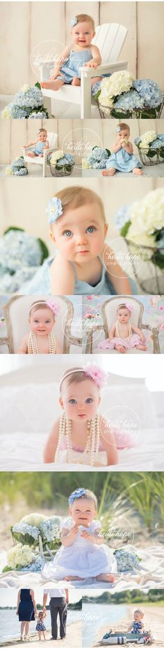 A very Cape Cod cute 6 month shoot! #capecod #socute #6monthsession #hydrangeas #beachshoot #nautical