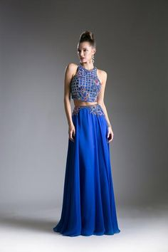 Cinderella Divine - Two-Piece Floral Embroidered A-Line Gown Prom Dresses 2017, Club Dresses, Chiffon Dress Long, A Line Gown, Two Piece Dress, Stunning Dresses, Special Occasion Dresses, Ball Gowns, Evening Dresses