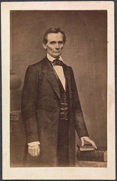 "Abraham Lincoln. Photo by Matthew B. Brady dated 1860. Part of an exhibition ""Photography and the America Civil War"" April 2-September 2, 2013"