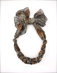 Recycled Scarf Necklace - Snake Print - Fabric Jewelry Brown Black White Neutral. $14.00, via Etsy.