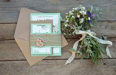 Invitación de boda rústica menta verde de por therusticinvitation