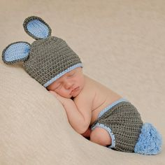 2c8978886b8 Grey and Blue BUNNY Hat and Diaper Cover Set - Newborn Boy  Melondipity. Melondipity  Baby Hats