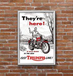 Affiche TRIUMPH 1957 - Garage Atelier Vintage - Limited Edition