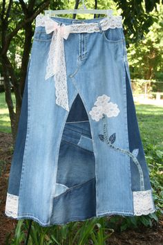 Long Jean Skirt 2-toned Patchwork and lace by LittleSouthernDarlin. Denim, lace, flower applique.