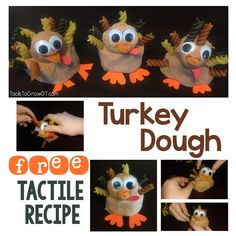 Thanksgiving activity and craft. This is a fun tactile Thanksgiving experience kids of all ages will LOVE! High Quality FREE PDF Dough Recipe to make a Thanksgiving Turkey. Let's enjoy the pleasure of some Thanksgiving fun while giving our children the Tools To Grow!