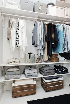 Tile floor, rug, baskets shelf below shirts