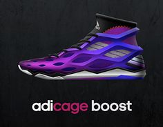"The color gradient is a nice technique which would allow for numerous color combinations. The ""cage"" design is a nice touch that I have not seen before. Although, I do not particularly like the magenta ""seal"" shape by the ankle. I think just solid black would look much better."