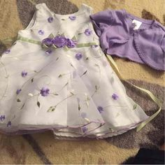 Purple and white flower dress 6/9months