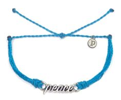 Silver Peace Neon Blue | Pura Vida Bracelets