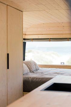 A Scandi-style surf van with a plan | homestyle Van Conversion Interior, Van Interior, Camper Life, Camper Van, Camper Curtains, Vw Camping, Vw T4, Caravan Renovation, Best Tiny House