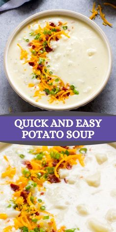 The easiest potato soup recipe! Made with only 6-ingredients and requires no roux. It's creamy, thick, and so satisfying. Veggie Soup Recipes, Yummy Pasta Recipes, Easy Soup Recipes, Quick Dinner Recipes, Yummy Food, Potato Soup, Pinterest Recipes, Comfort Foods, Healthy Cooking