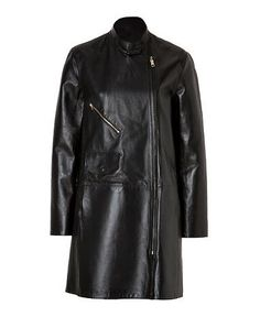 Closed Brown Leather Beetle Coat  $1,034  Womens Beetle Coat Detailed in lambskin with a sleek stand-up collar