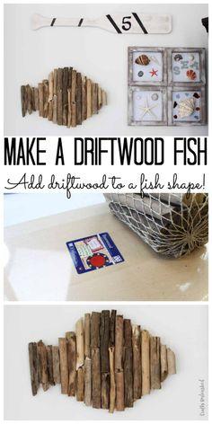 Driftwood wall art: beach home decor - the country chic cottage Driftwood Fish, Driftwood Wall Art, Driftwood Projects, Diy Projects, Driftwood Ideas, Design Projects, Woodworking Projects, Diy Home Decor On A Budget, Handmade Home Decor