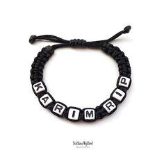 Bracelet tressé personnalisé avec prénom KARIM RIP Messages, Washer Necklace, Jewelry, Bracelet Patterns, Acrylic Beads, Braided Bracelets, Initials, Jewlery, Bijoux