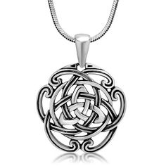 nice 925 Sterling Silver Triquetra Trinity Celtic Knot Open Round Pendant Necklace, 18 inches