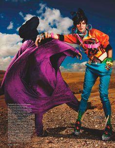 Carmen Kass for British Vogue. Photo by Mario Testino. Post-production makes it look like Kodachrome film.