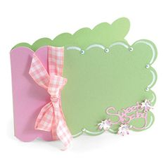 """Card, Scallop [655419] - Sizzix BigZ XL Die - Measuring 6"""" x 13 3/4"""", this die requires the use of one Extended Cutting Pad, one Extended Crease Pad and 6"""" x 12"""" paper. The assembled measurement of this card is approximately 5 7/8"""" x 4 1/4""""."""