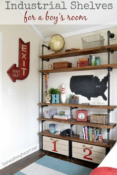 16 Favorite Industrial Pipe Furniture Projects shelves for the rec room! Industrial Pipe Shelves, Modern Industrial, Industrial Design, Industrial Boys Rooms, Pipe Shelving, Industrial Office, Vintage Industrial, Industrial Nursery, Industrial Industry