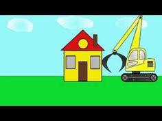 Мультик про экскаватор - погрузчик. Строим дом. Учим геометрические фигуры