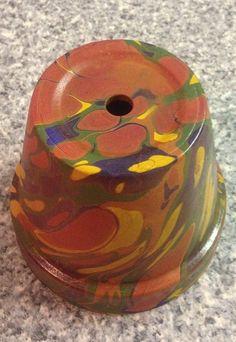 Marbled Flower Pot by Vesile Yilmaz  Mandurah Marbling   Marbler Vicky