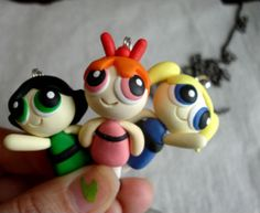 *POLYMER CLAY ~ GUO GUO'S- Handmade Polymer Clay powerpuff girls Necklace buttercup, bubbles, blossom, made to order.