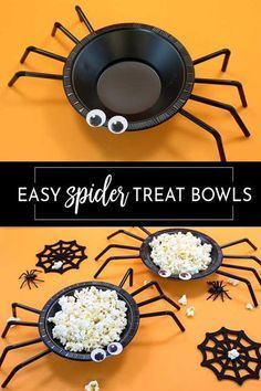 This is the easiest and cutest Halloween craft! Plastic bowls and straw with a bit of hot glue and your favorite treat make these perfect for Halloween parties. Best Picture For diy halloween disfraz Halloween Mignon, Halloween Tags, Halloween Food For Party, Diy Halloween Decorations, Holidays Halloween, Easy Kid Halloween Crafts, Halloween Party Treats, Halloween Treats For School, Halloween Food Ideas For Kids
