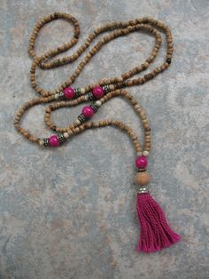 Mala Style Long Beaded Tassel Necklace