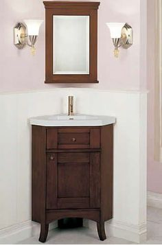 Have a look at the best ideas for adding corner bathroom vanity. - March 16 2019 at 24 Inch Bathroom Vanity, Corner Sink Bathroom, Diy Vanity Mirror, Corner Vanity, Vanity Sink, Bathroom Towels, Gold Bathroom, Bathroom Ideas, Bathroom Vanities